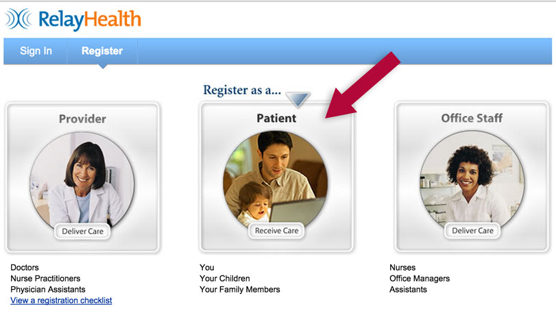 RelayHealth patient selection screen