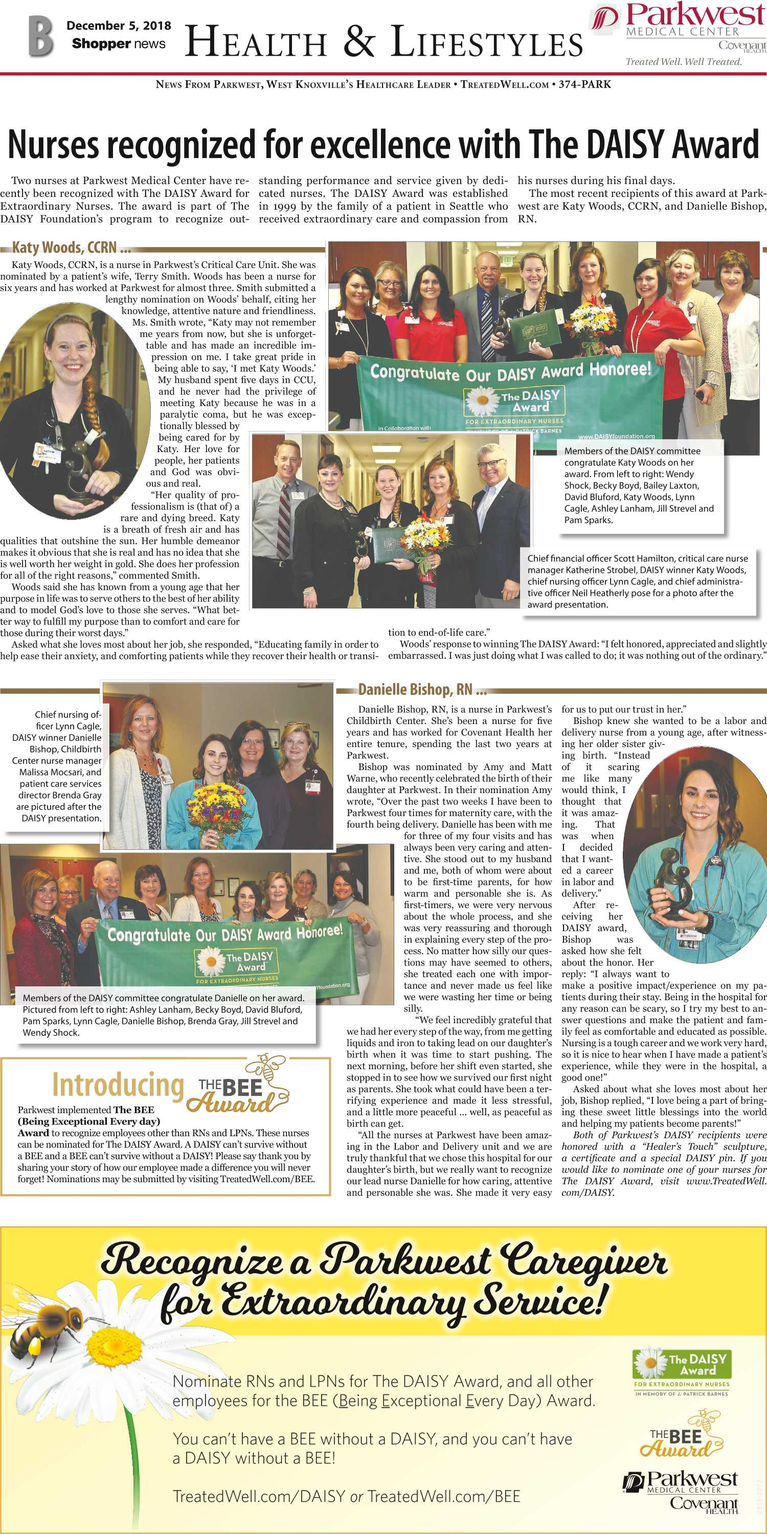 Nurses recognized for excellence with the DAISY Award