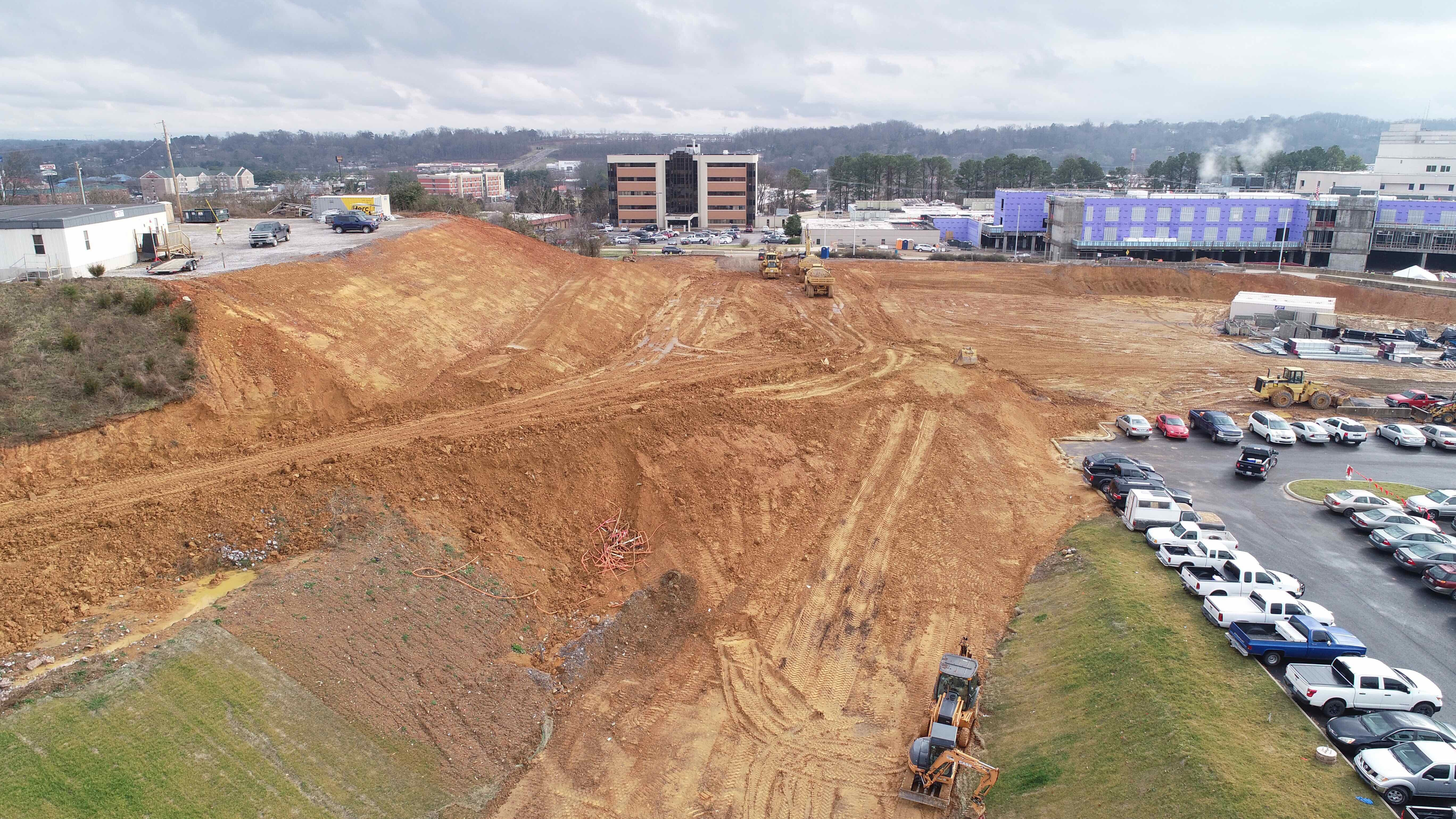 View of dirt removal pile on construction site.