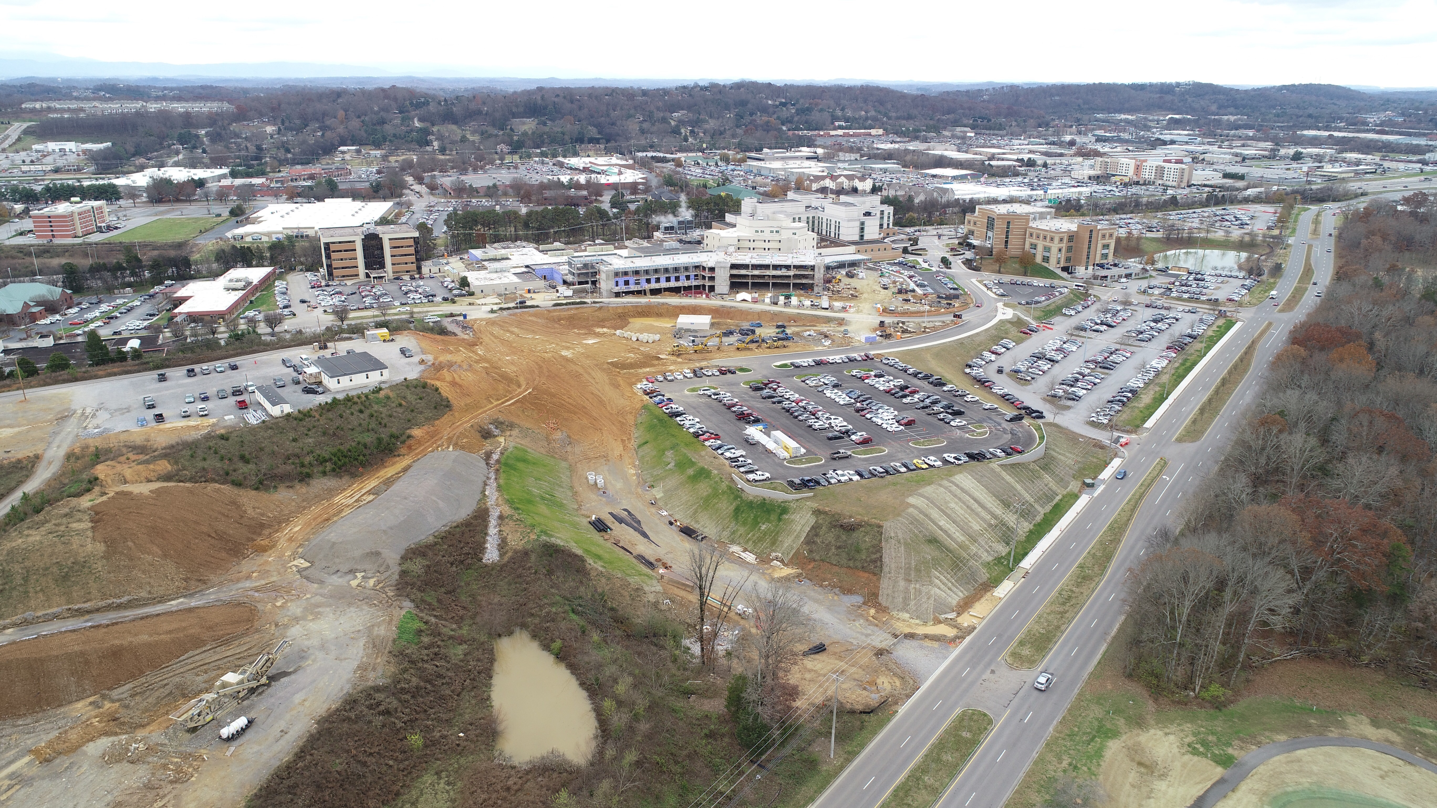 Aerial view of new parking lot across Sherrill Boulevard.