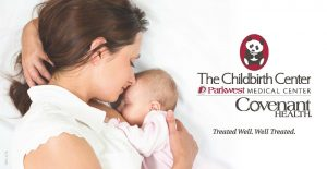 mothering snuggling newborn baby next to parkwst childbirth center logo.