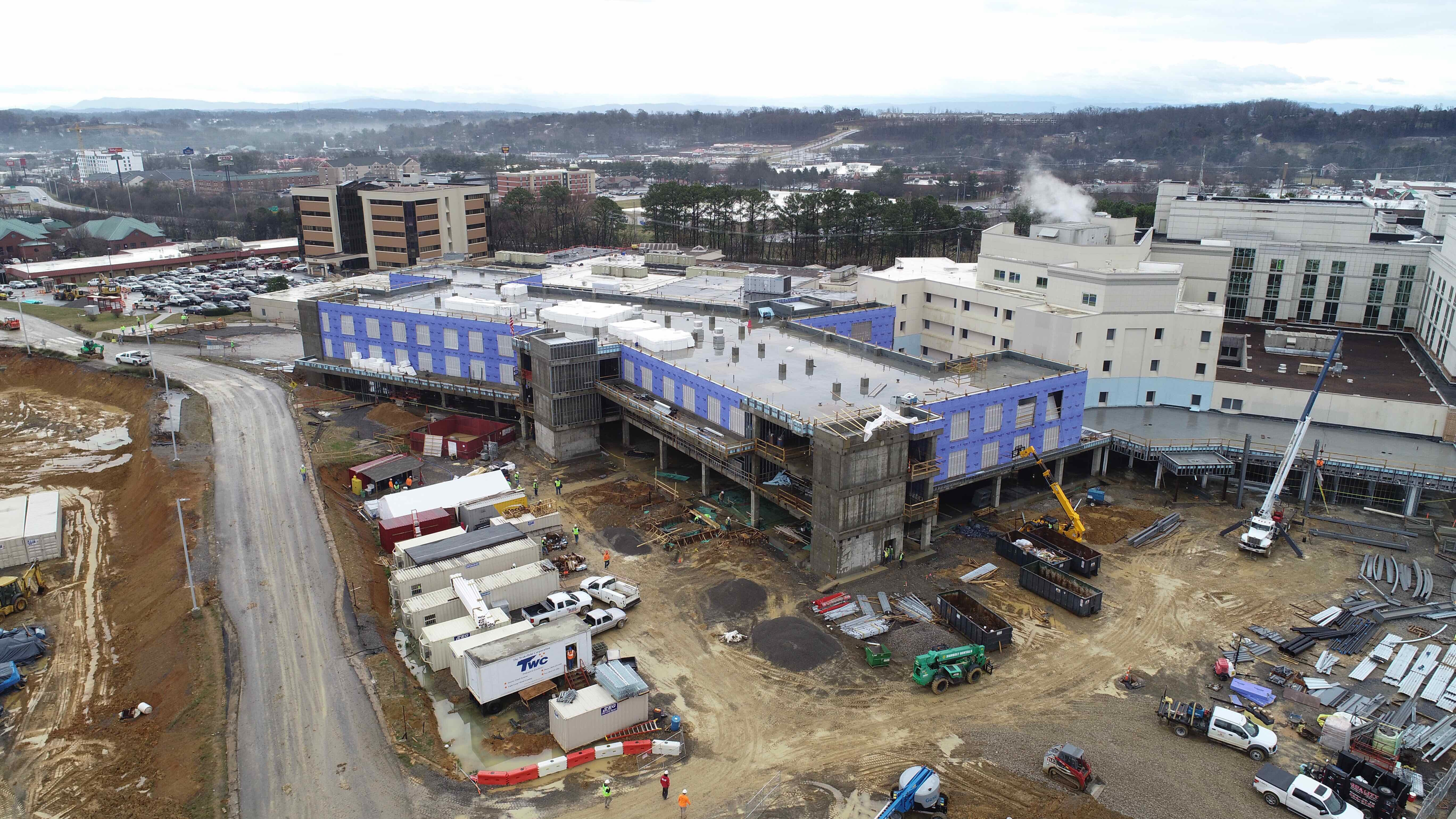 February 11 aerial of construction site.
