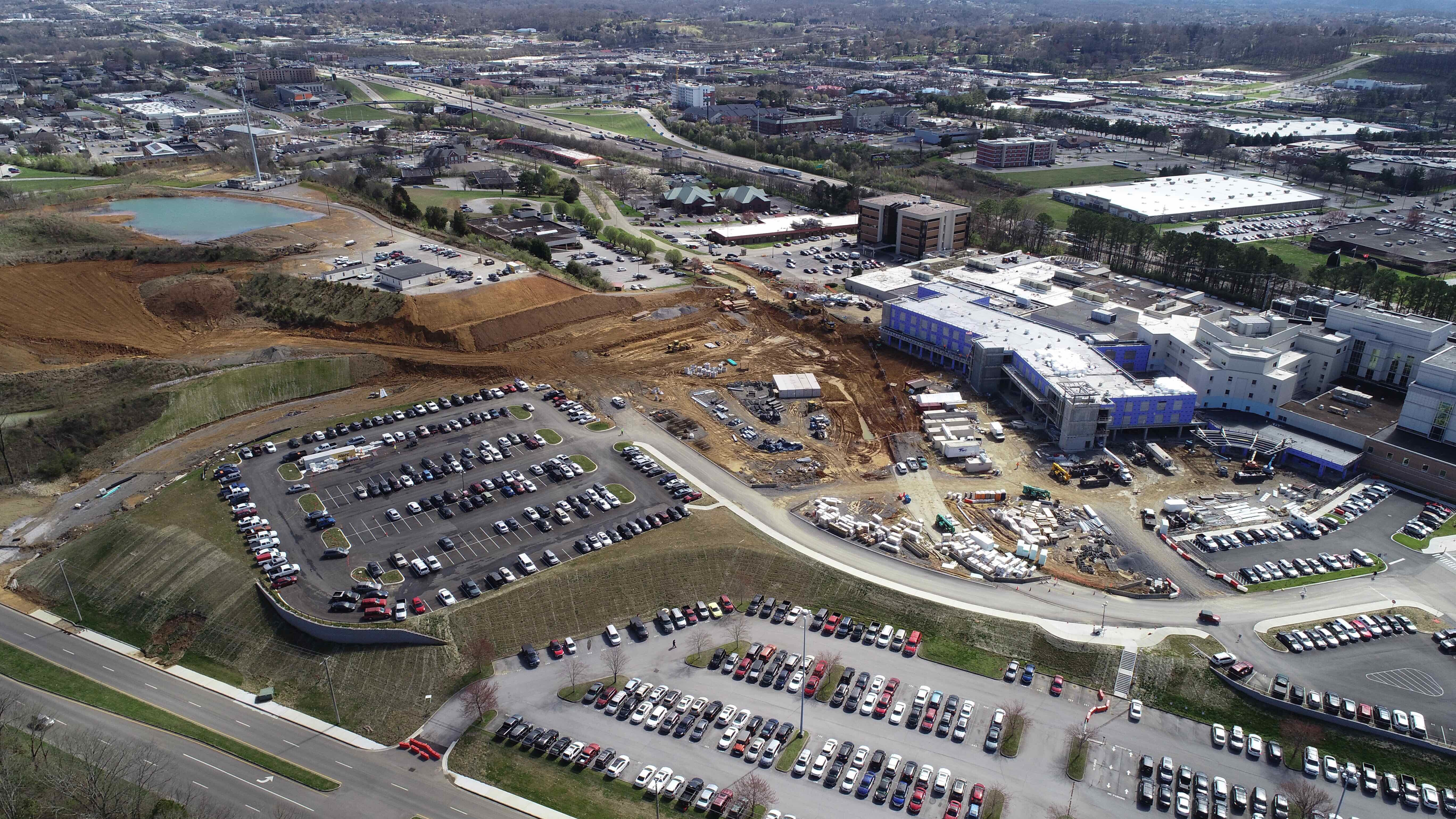 Drone aerial view over physician parking lot.