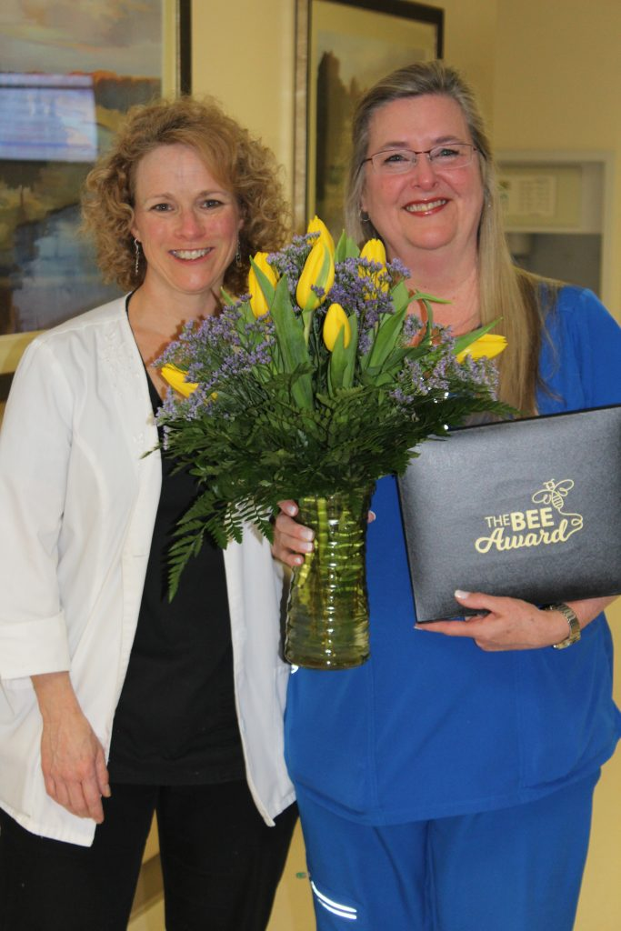 GI Manager Kathy Cook nominated employee Micki Smith for first BEE award.