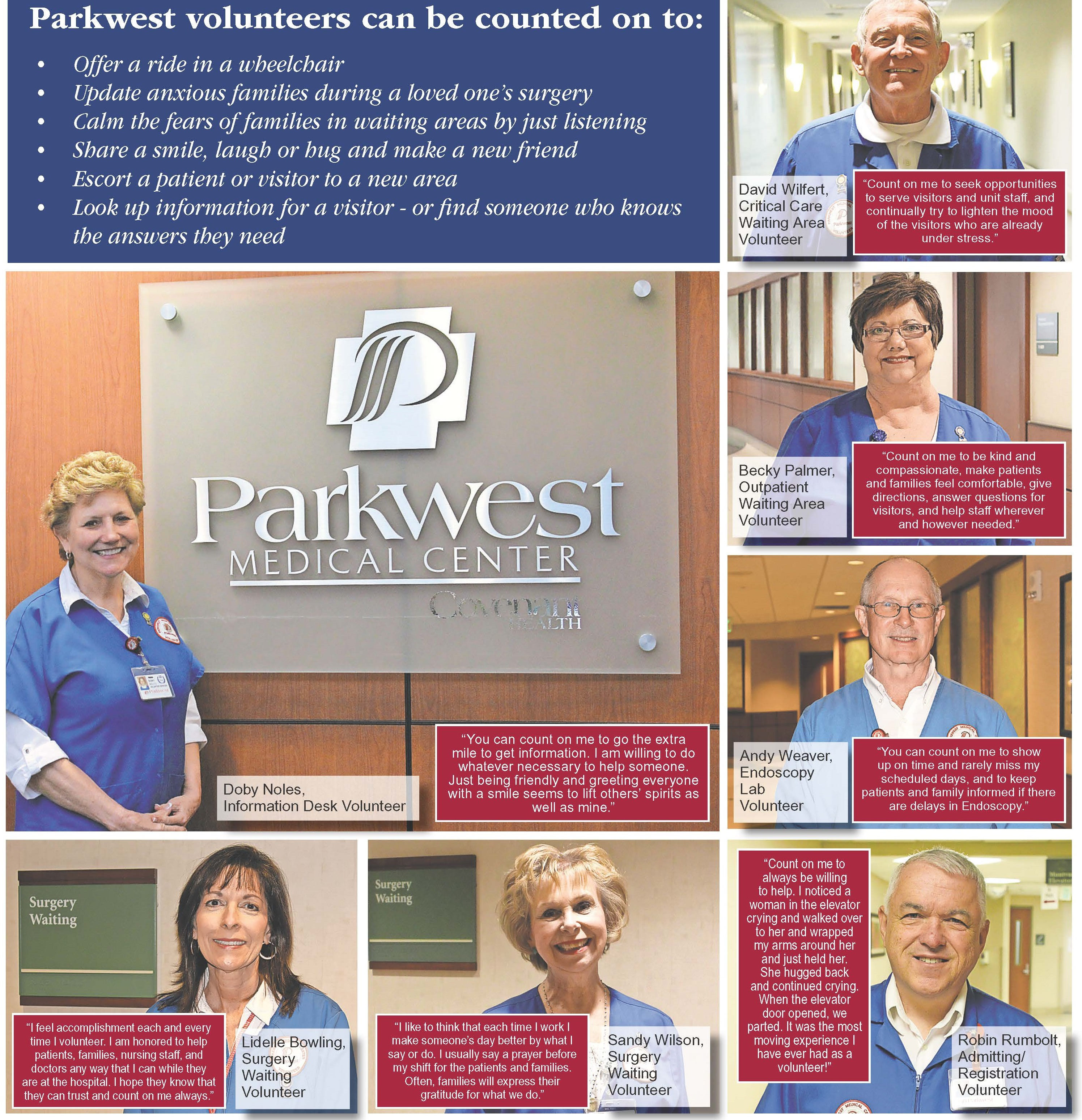 Parkwest Medical Center Counts on Volunteers