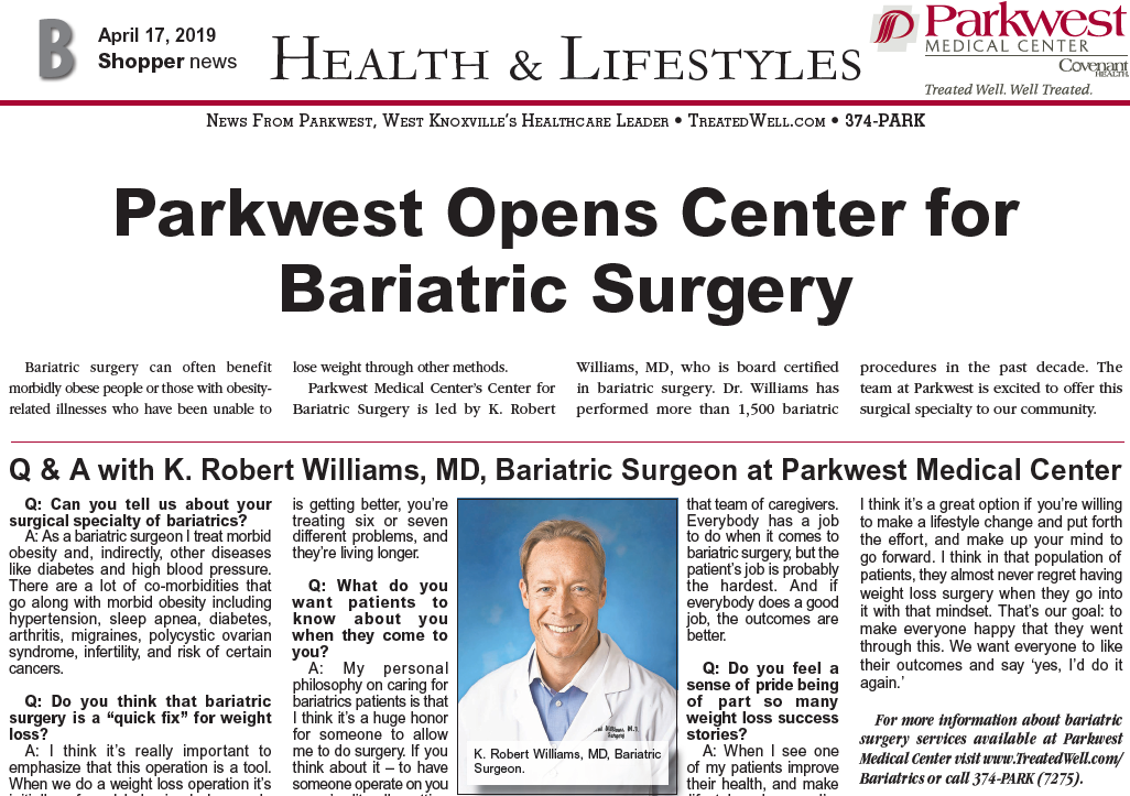 Parkwest Opens Center for Bariatric Surgery