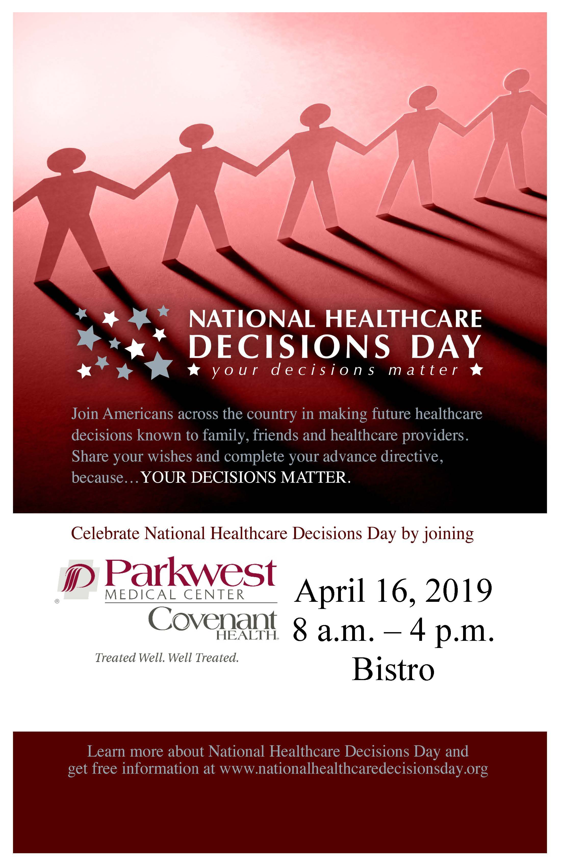National Healthcare Decision Day Poster with Parkwest Info.