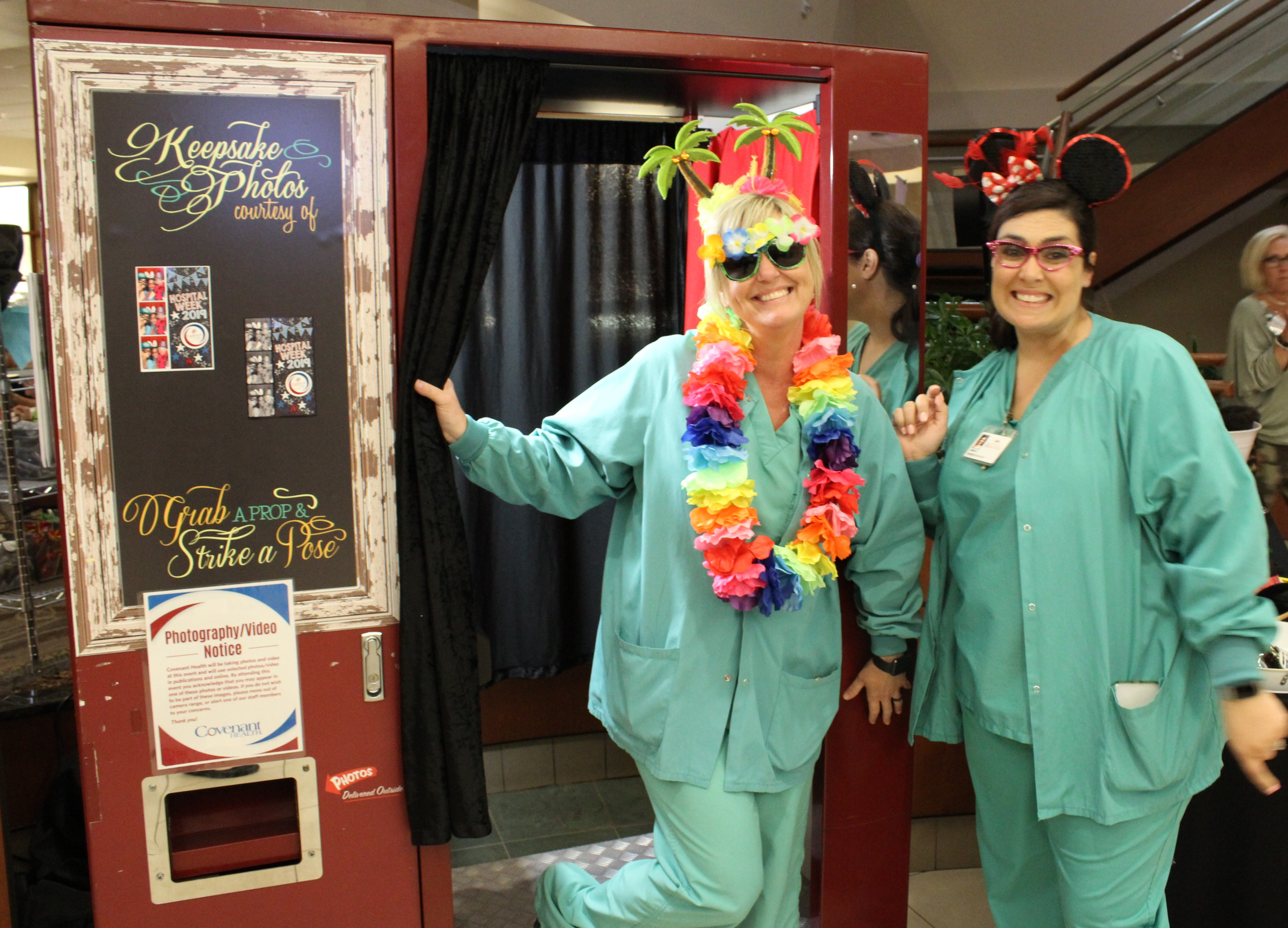 Surgery team dressed for photo booth fun