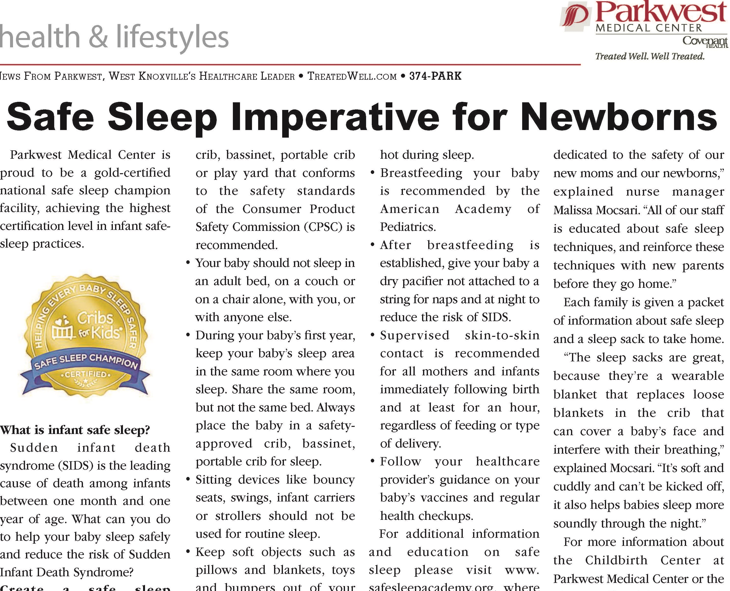 Safe Sleep Imperative for Newborns