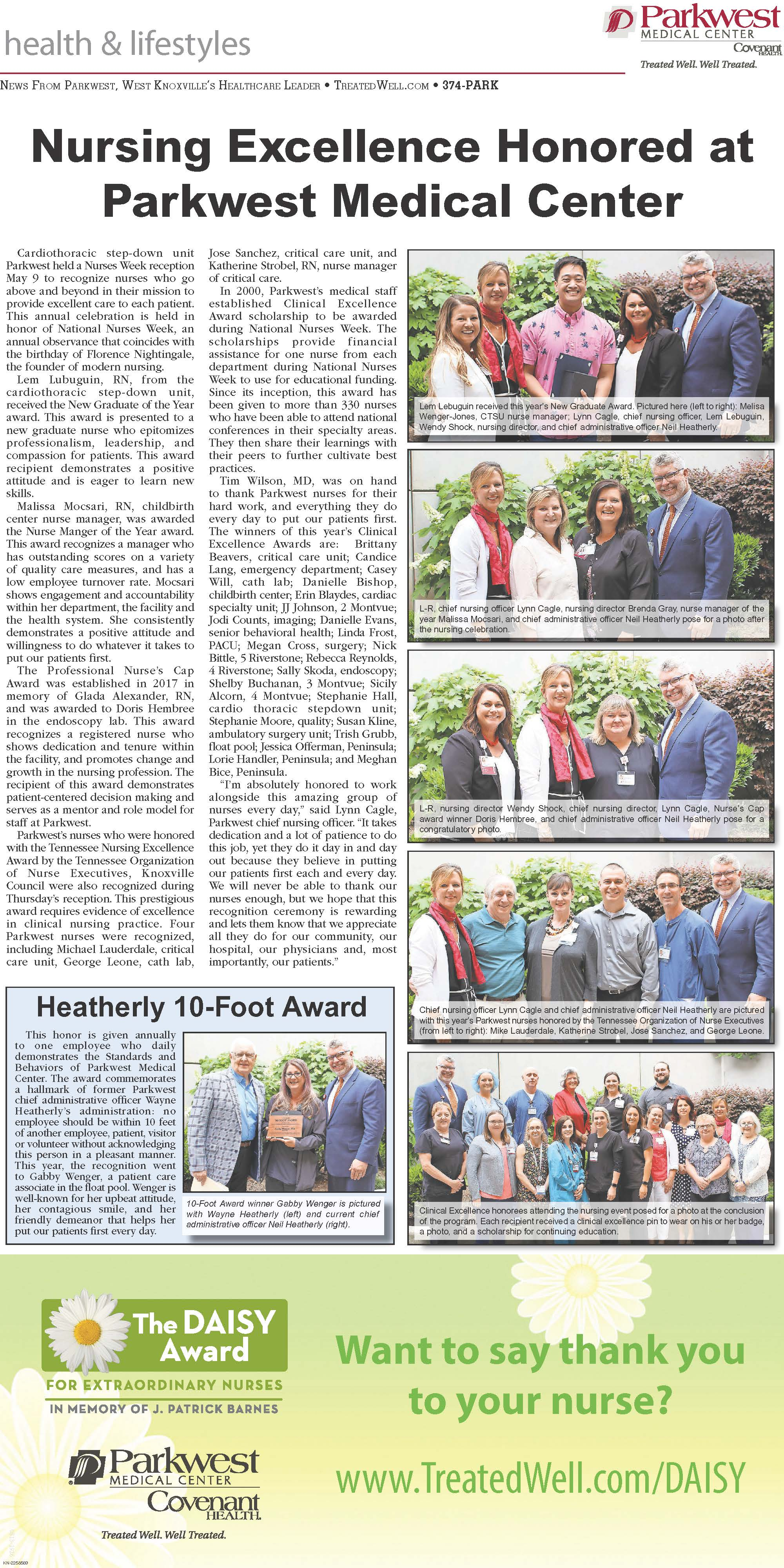 West Side Shopper News 5.22.19 page featuring Parkwest nurses.