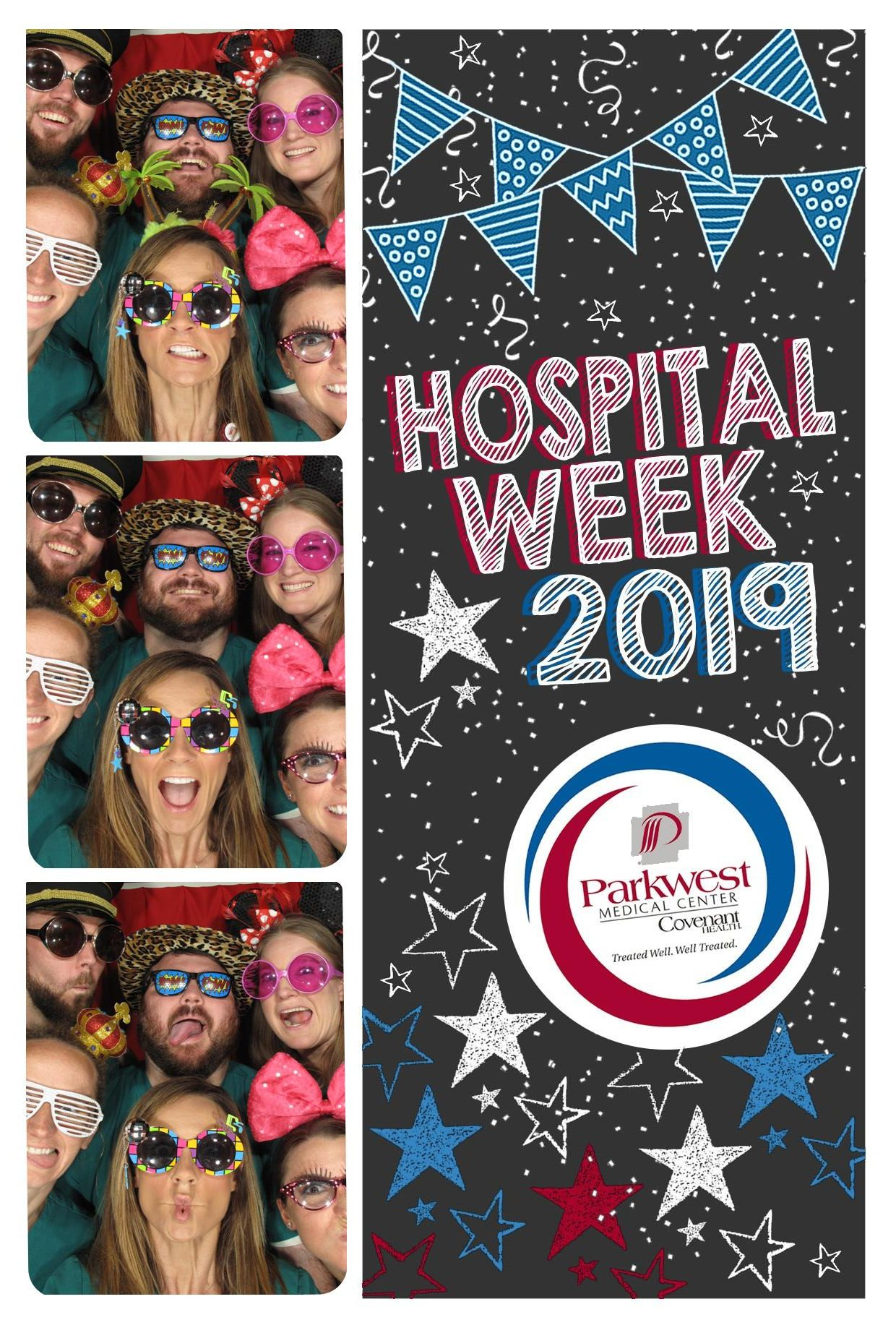 Photo booth with six PT team members.