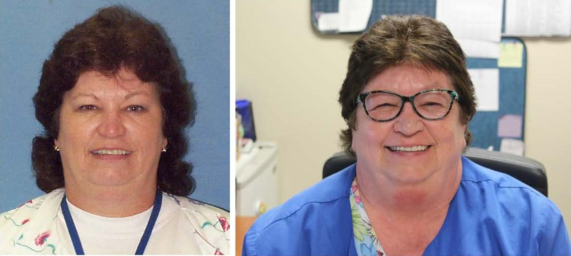 TBT next to current images of Cindy Ogle, department assistant in emergency care center.