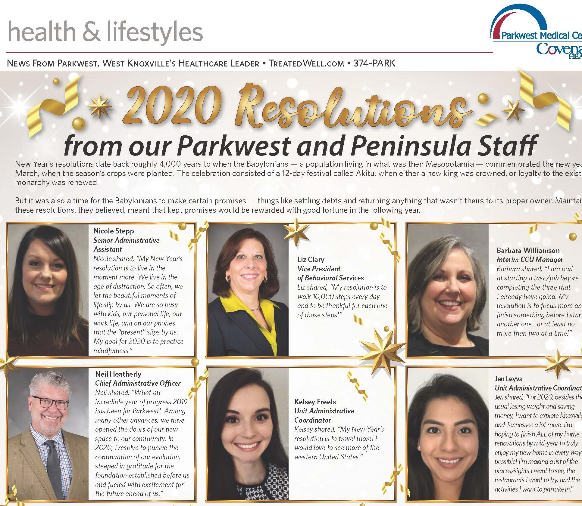 2020 Resolutions from Parkwest and Peninsula Staff