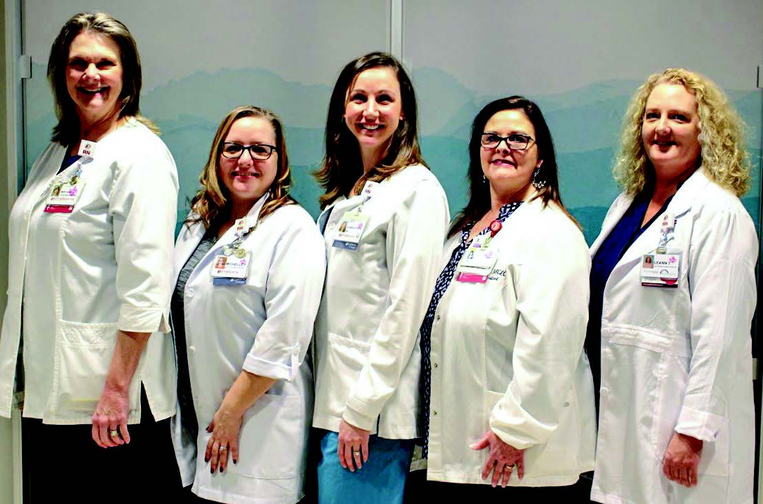 5 parkwest lactation specialists in white jackets.
