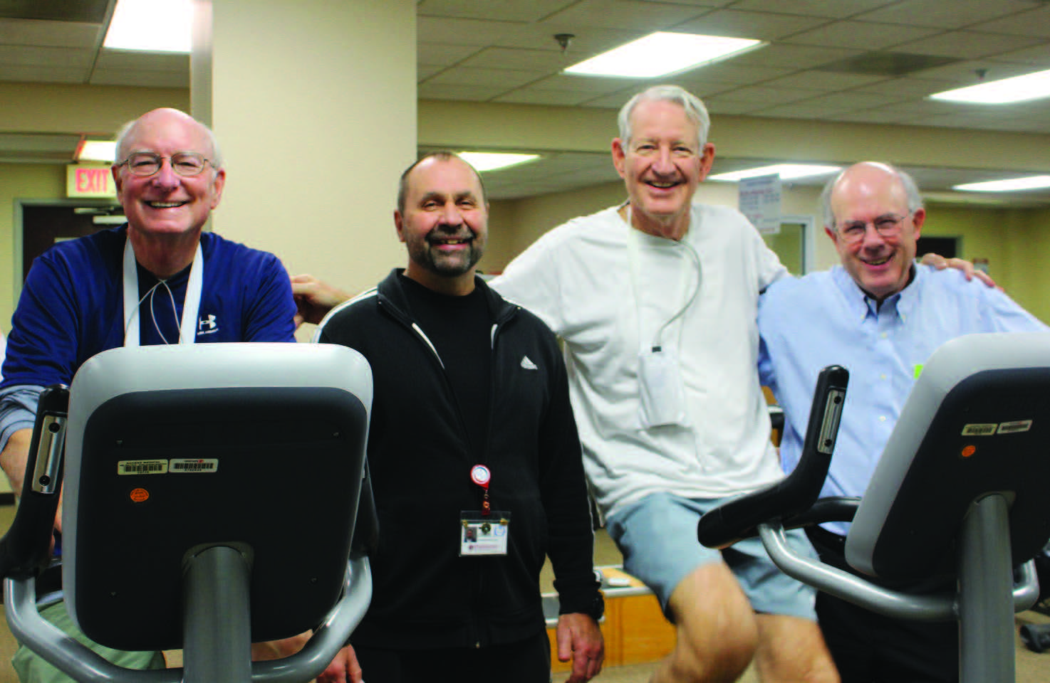 Chip Johnson, MD; Chris Spruiell; Paul Ambrose, MD; and cardiac rehab supervising physician Bob Montgomery, MD.