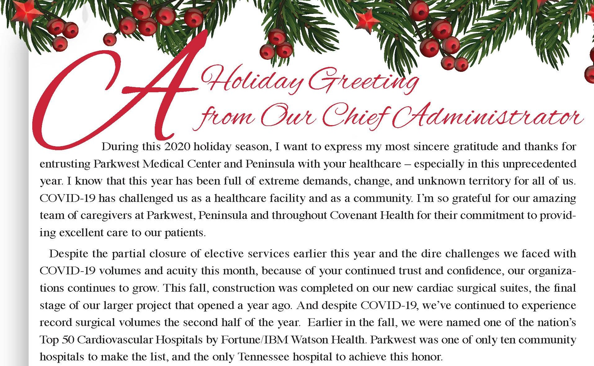 A Holiday Greeting from Our Chief Administrator