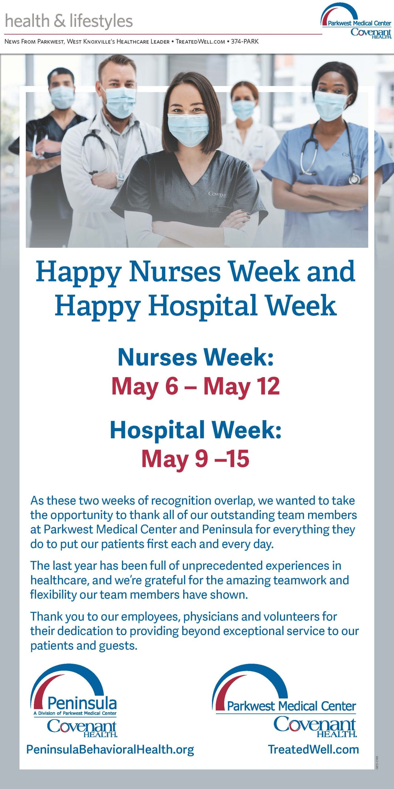 full page hospital week ad