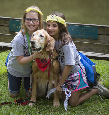 Past campers with a HABIT dog.