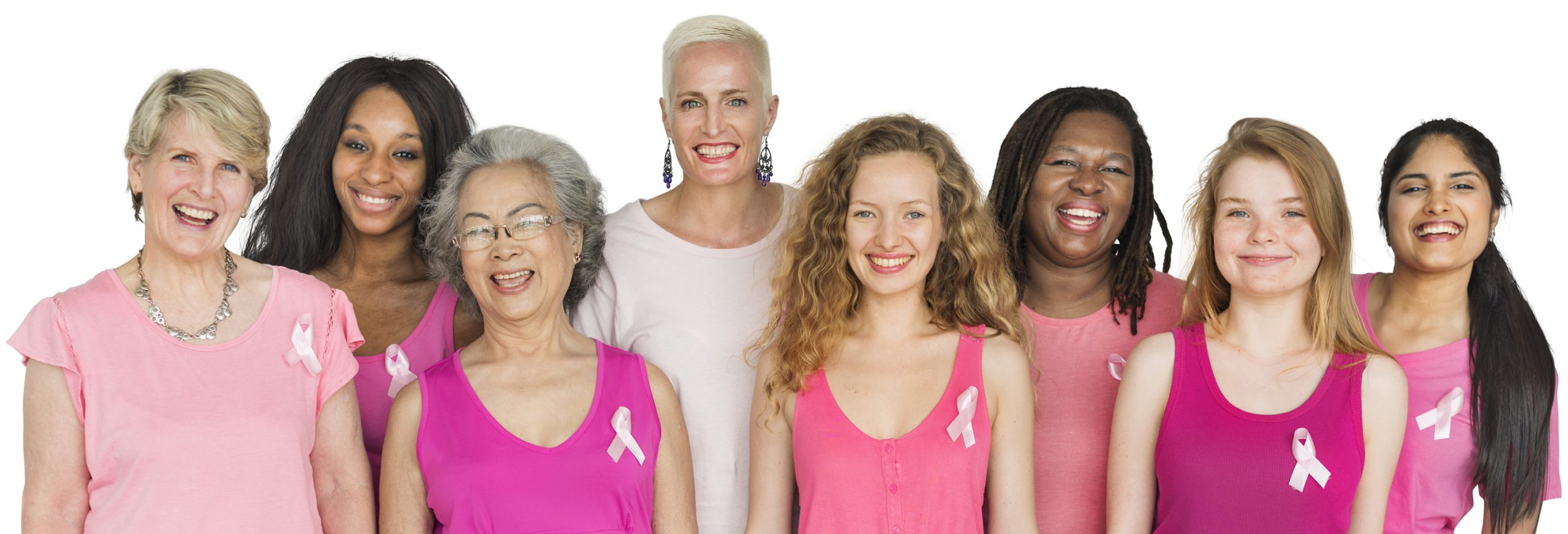group of women all dressed in pink.
